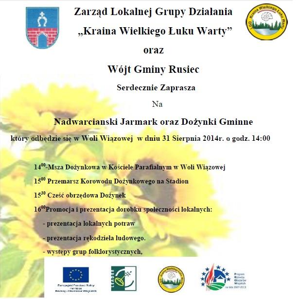 Zaproszenie na Nadwarciański Jarmark wWoli Wiązowej